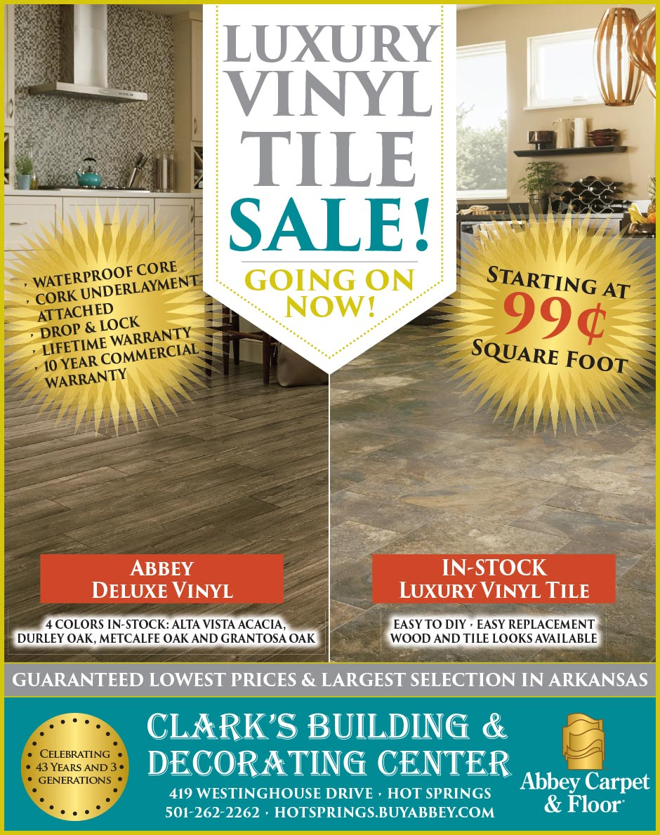Luxury Vinyl Tile Sale Going On Now!  Starting at $0.99 sq.ft. in-stock luxury vinyl tile at Clark's Building & Decorating Center!  Call or come in for more details!