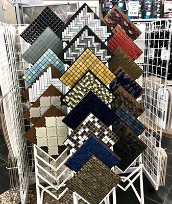 In-Stock glass tile at Clarks Building & Decorating Center in Hot Springs, Arizona